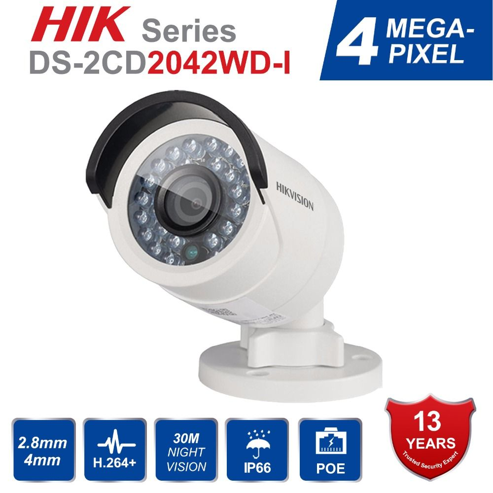 Original Hikvision DS-2CD2042WD-I Full HD 4MP English Version Bullet Network CCTV Camera High Resolution 120db WDR POE IR IP