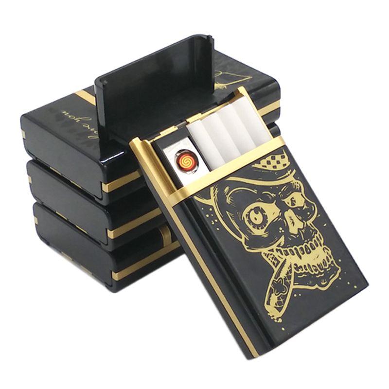 Multifonction Crâne Style USB Cigarette Briquet Avec Étui, Sans Flamme Coupe-Vent et usb Rechargeable Briquets