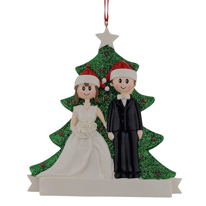 Couple paillettes résine arbre de fiançailles de noël ornements Souvenirs de mariage cadeaux personnalisés nom gratuit goutte pour décor de mariage