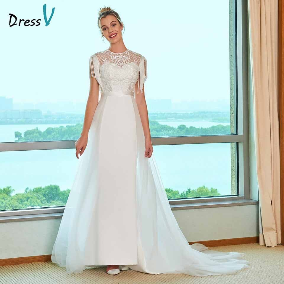 Dressv scoop neck wedding dress a line button lace tassel beding embroidery floor length bridal outdoor&church wedding dresses