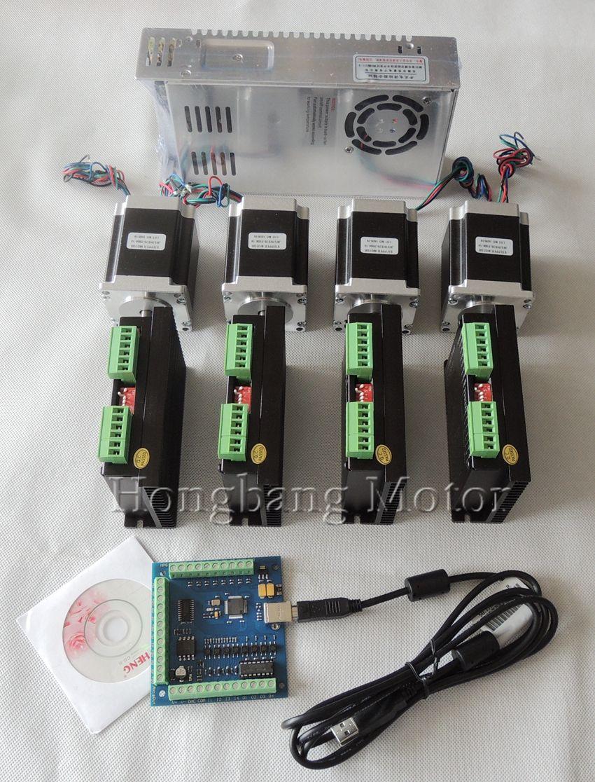 CNC USB 4 Axis Kit, 4pcs TB6600 steppper motor driver+ mach3 USB controller card 100KHz+ 4pcs nema23 270oz-in motor+power supply