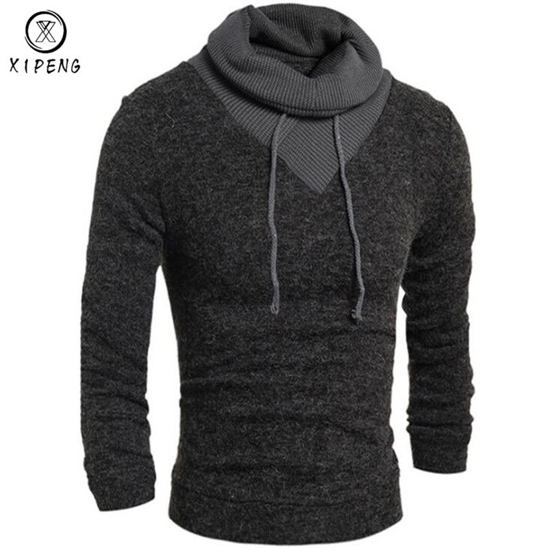 2018 Spring Autumn Turtleneck Sweater Men Casual Knitted Sweater Male Long Sleeve Slim Fit Pullover Masculina Sueter 2XL