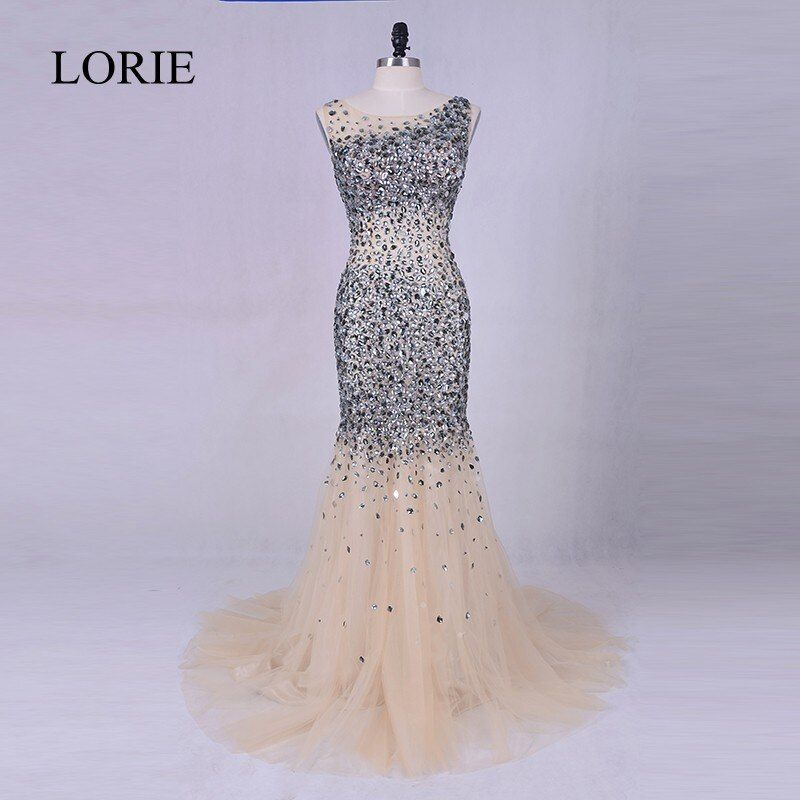 Luxury Rhinestone Evening Gown 2017 LORIE Silver Grey Crystals Beading Tulle Long Prom Dresses Sexy Women Champagne Party Dress