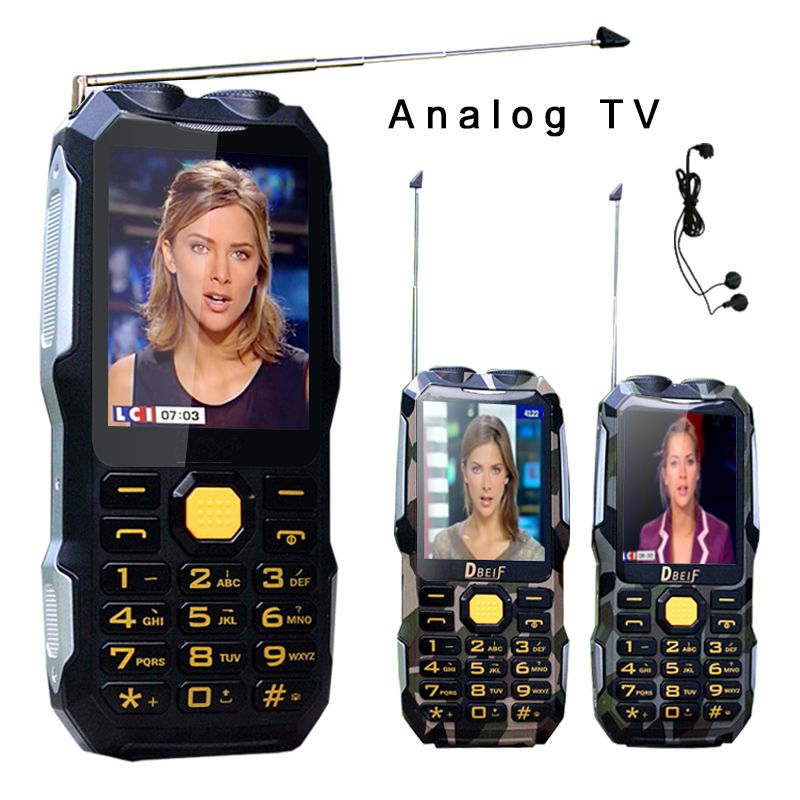 DBEIF <font><b>D2016</b></font> Magic Voice Dual Flashlight FM 13800mAh MP3 MP4 Power Bank Antenn Analog TV Rugged Mobile Phone Cell P242
