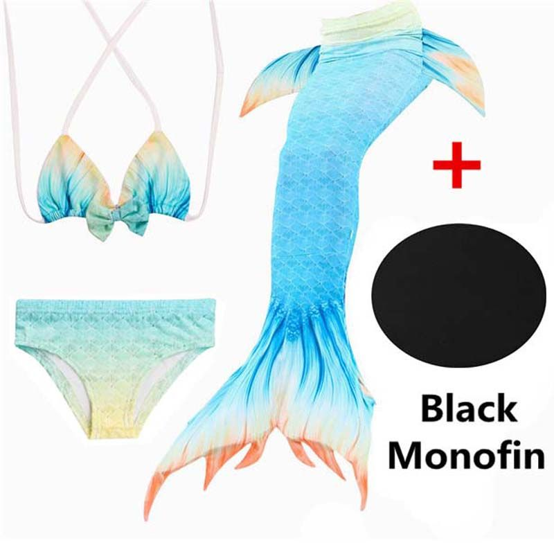 4Pcs/22 Colors Girls Bathing Suit Swimming Mermaid Tail with Monofin Little Children Ariel Mermaid Costume Kids Swimsuit Cosplay
