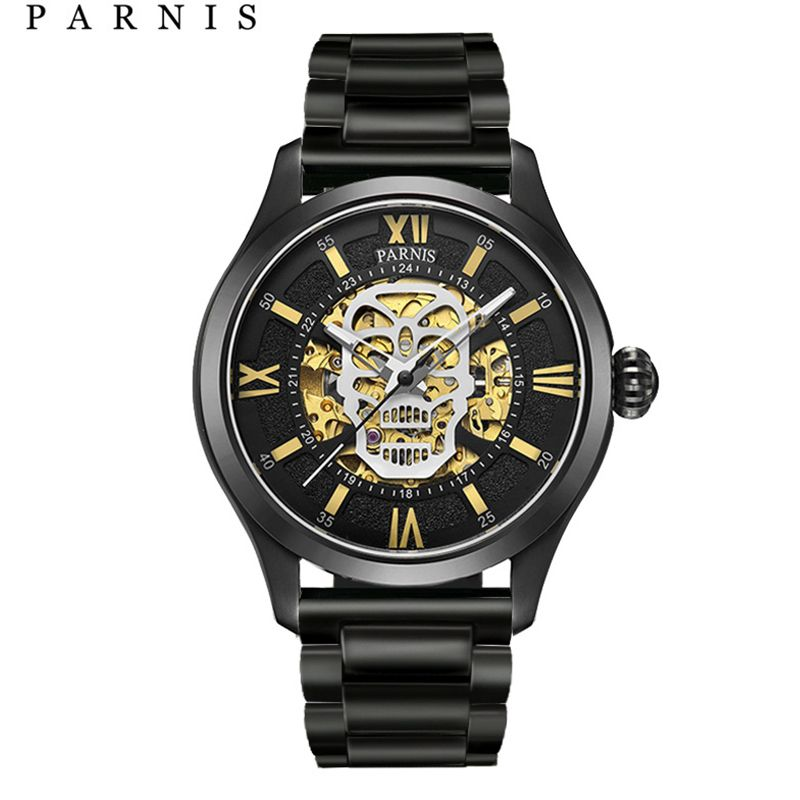 Parnis Automatic Watch Skull Luminous Skeleton Self Wind Wacht Men Black Bay Leather Sapphire Glass PA6054