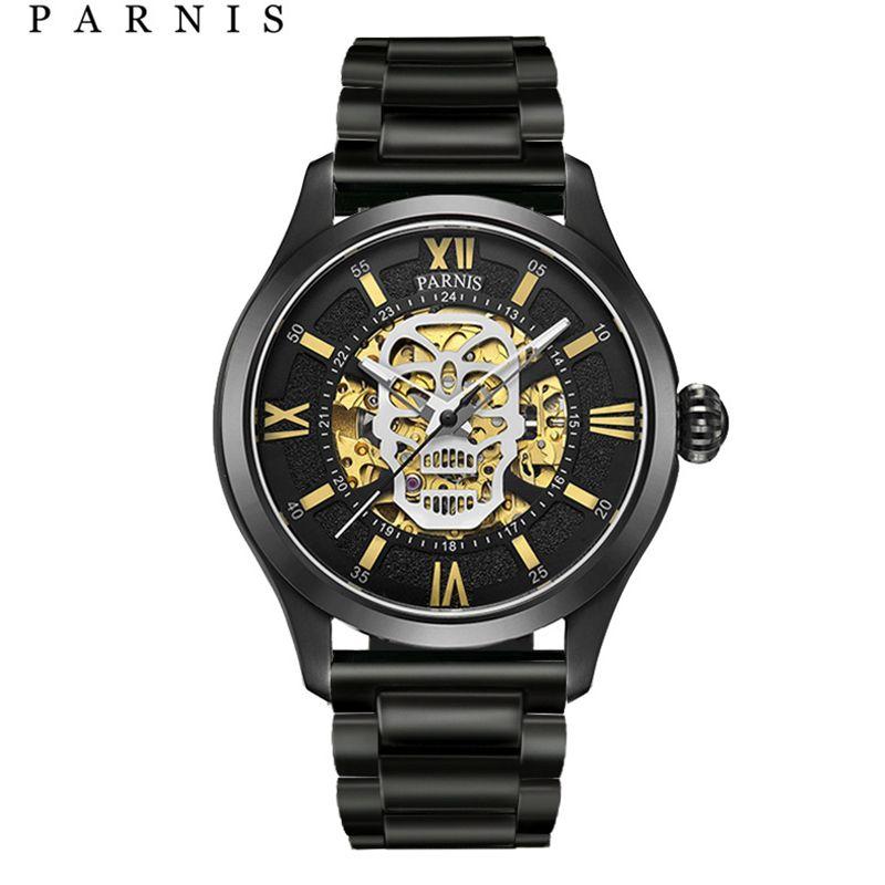 Parnis Automatische Uhr Schädel Leucht Skeleton Selbst Wind Wacht Männer Schwarz Bay Leder Sapphire Glas PA6054