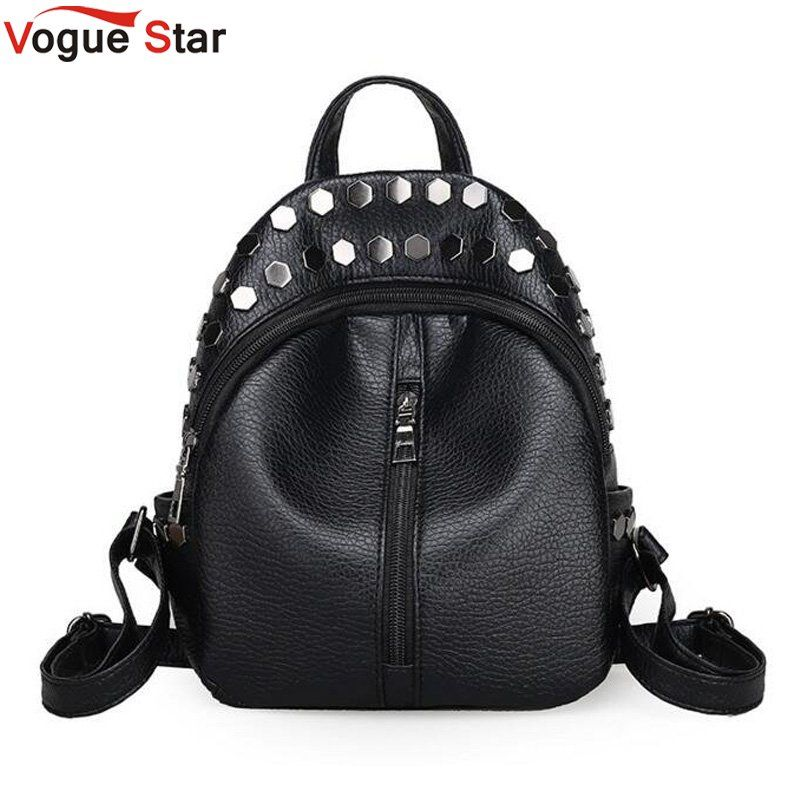 Fashion small women backpacks small rivet zipper pu leather student backpack preppy style backpack girls women's back pack LB215