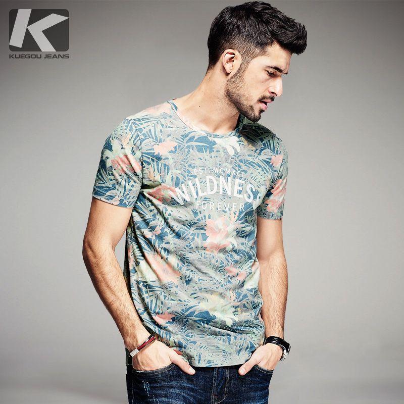 KUEGOU Nouveau D'été Hommes De Mode T Chemises Lettre Fleur Imprimer Vert Marque de Vêtements Homme À Manches Courtes T-Shirts Plus La Taille tee 8284