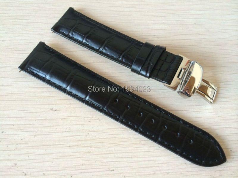 19mm (Buckle18mm) PRC200 T17 T41 T461 boucle papillon en argent de haute qualité + bracelets de montre en cuir véritable noir