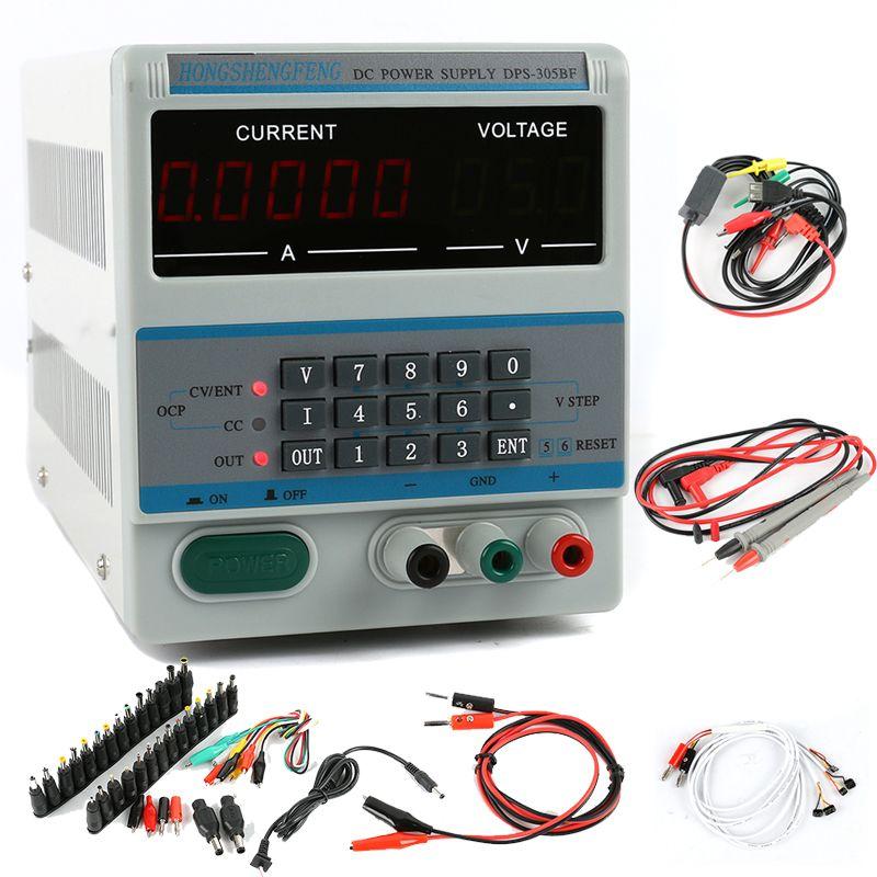 DSP-305BF Einstellbare Dc-netzteil 30 v 5A 0,1 v 0.0001A Digitale Labor Netzteil Telefon Reparatur Kit + DC jack Set