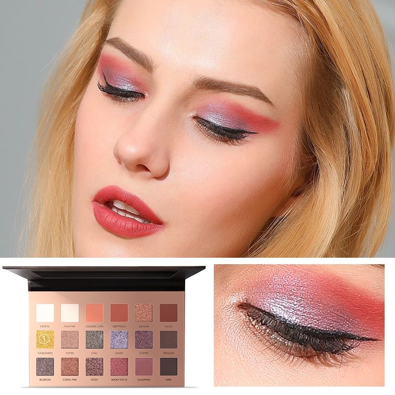 FOCALLURE 18 Colors Glitter Eyeshadow Shimmer Pigment Palette Cosmetics Glitter Eye Shadow Makeup Beauty