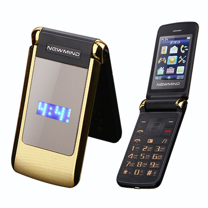 Newmind V518 flip dual double screen cellphone vibrate senior cell mobile phone Dual SIM MP3 MP4 cell phone for old people P078