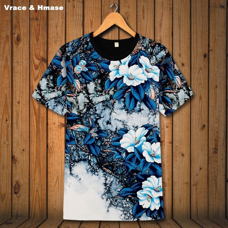 Chinese style creative 3D flower pattern boutique short sleeve t-shirt Summer 2018 New fashion casual quality t shirt men S-6XL