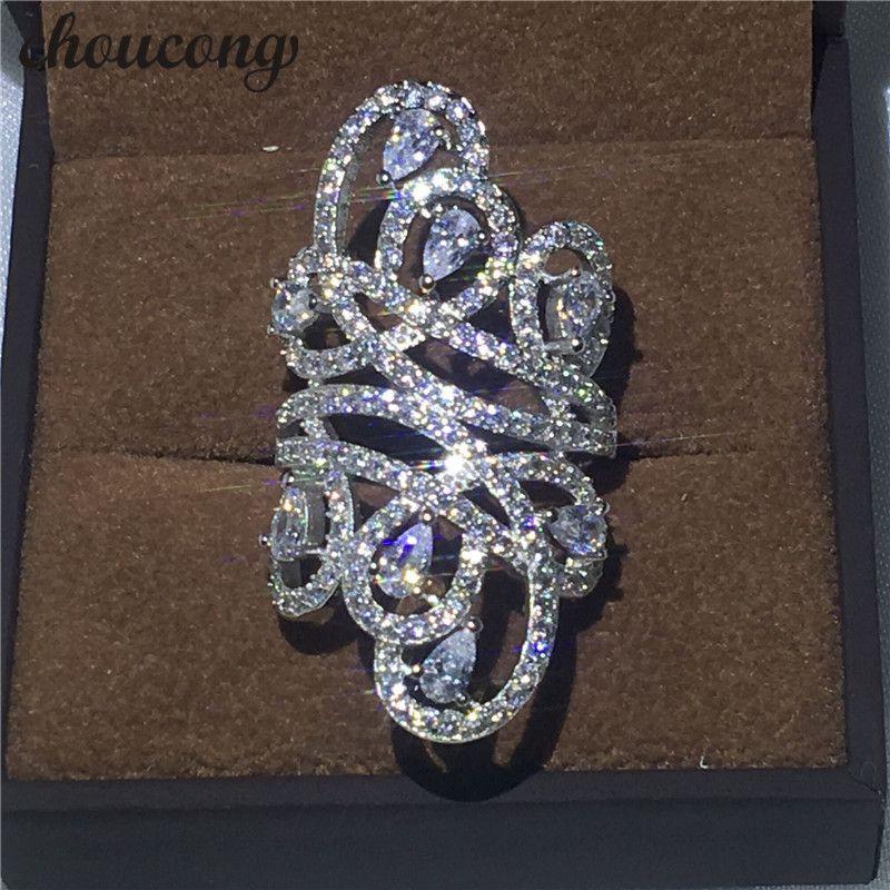 Choucong Роскошные Дизайн Для женщин Модные украшения 10ct 5A Циркон CZ 925 серебро Обручение обручальное кольцо