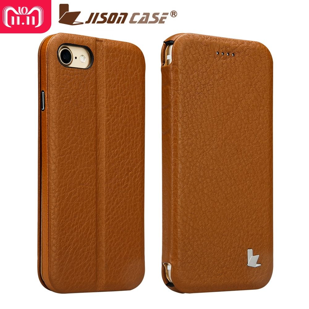 Jisoncase Flip Smart Case for iPhone 7 Folio Kickstand Cover Genuine Leather Luxury Magnet Covers Shell for iPhone 7 4.7 Funda