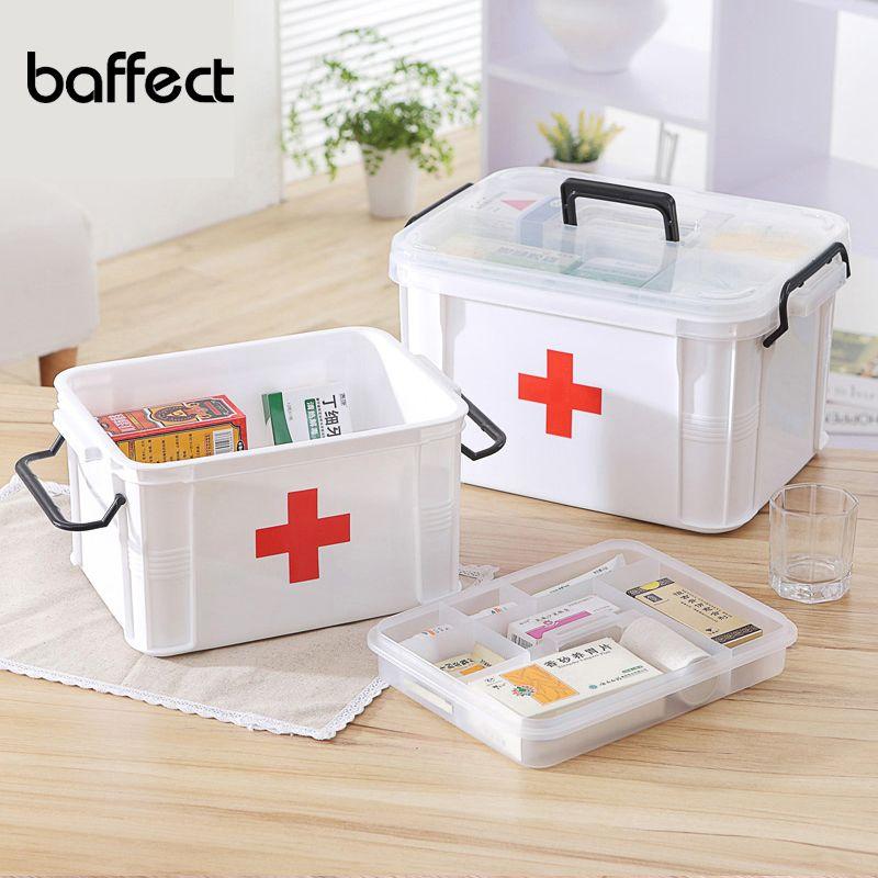 Kits de premiers soins bprinter boîte de rangement médicale pour organisateur de coffre à pharmacie de grande capacité boîte de rangement en plastique à 2 couches
