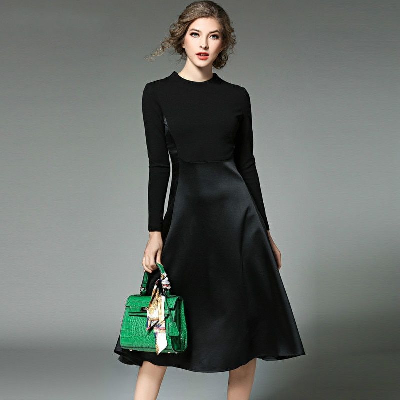 Kleidung Frauen Langarm Schwarz herbst Winter Kleid Vetement Femme 2017 Vestidos Mujer OL Long Shirt