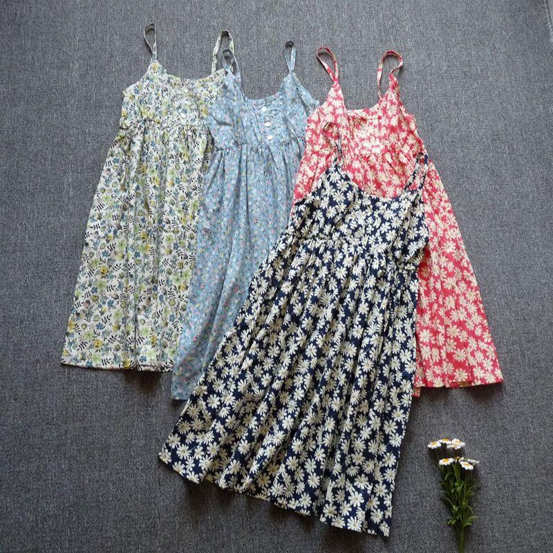 Robes d'été de courroie de spaghetti coton impression Pas Cher vêtements chine robe d'été 2019 casual robes sarafan vente robes livraison gratuite