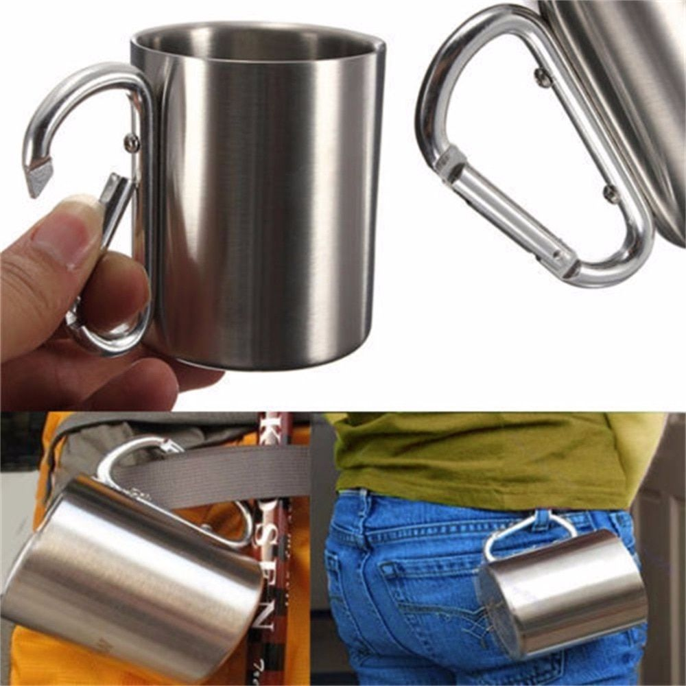 OUTAD 180ml Stainless Steel Camping Traveling Cup Metal Outdoor Cup Double Wall Mug with Carabiner Hook Handle Drop shipping