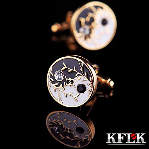 KFLK Luxe Marque manchette bouton de chemise bouton de manchette hommes boutons De manchette En Cristal Or Haute Qualité Chinois Culture abotoadura Bijoux