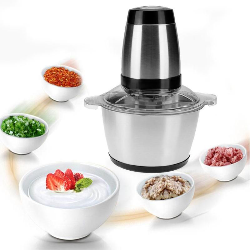Alloet 2L Electric Food Mixer Household Blender Multi-functional Meat Grinder Stainless Steel Food Mixer for Home