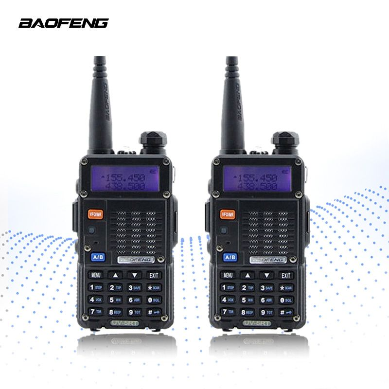 2PCS BAOFENG UV-5RT Walkie Talkie Two Way Radio FM Transceiver Interphone Dual-band DTMF Encoded VOX Alarm LED Flashlight