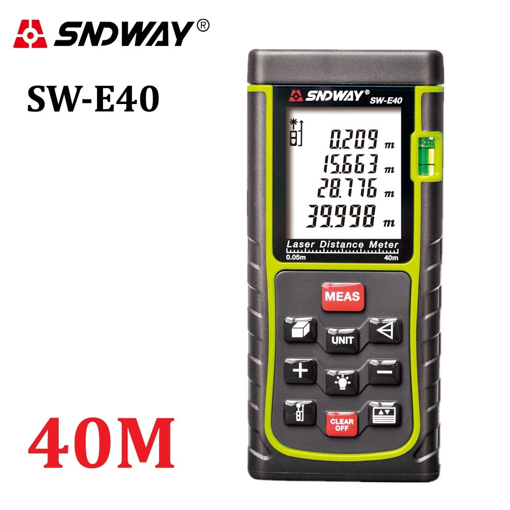 <font><b>SNDWAY</b></font> SW-E40 RZ40 131ft Laser Rangefinder 40m Distance Meter Digital Laser Range Finder Tape Area-volume-Angle Tester tool