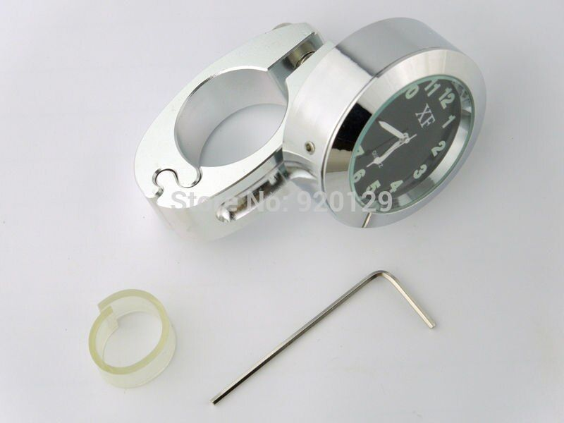 Motorcycle Handlebar Clock - Chrome Black Dial - Waterproof Seiko Universal Dimensions 22mm~25mm