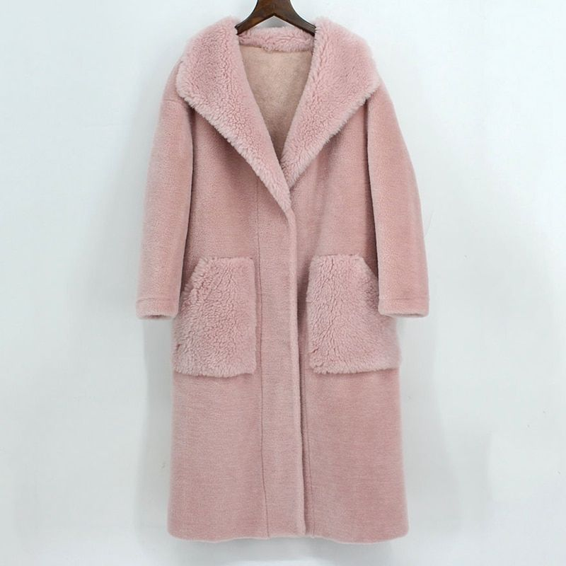 sheared fur sheepskin lamb fur coat women winter pink genuine fur outwear for female autumn winter thick cloth china wholesale