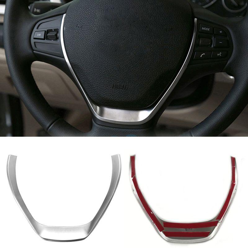 Silver chrome steering wheel trim decoration frame sequins sticker interior accessories for BMW 1 3 Series F20 F30 F34 328i 118i