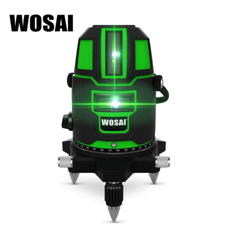 WOSAI niveau Laser vert 5 lignes niveau Laser 6 Points automatique auto-nivelant 360 inclinaison verticale et horizontale et Mode extérieur 532nm