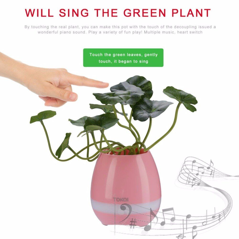 2017 Unique TOKQI En Plastique Smart Musique Fleur Pots Bluetooth Haut-Parleur Jouer Du Piano Décoration Planteur Nuit Lumière Tactile Capteurs