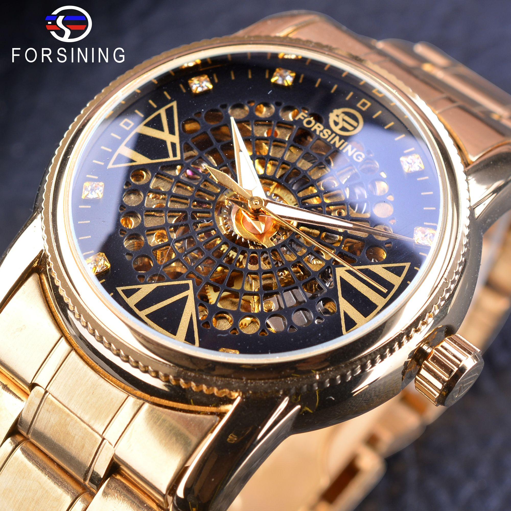 Forsining Fashion Golden Skeleton Diamond Display Men Creative Wristwatch Top Brand Luxury Openwork Mechanical Watch Male Clock
