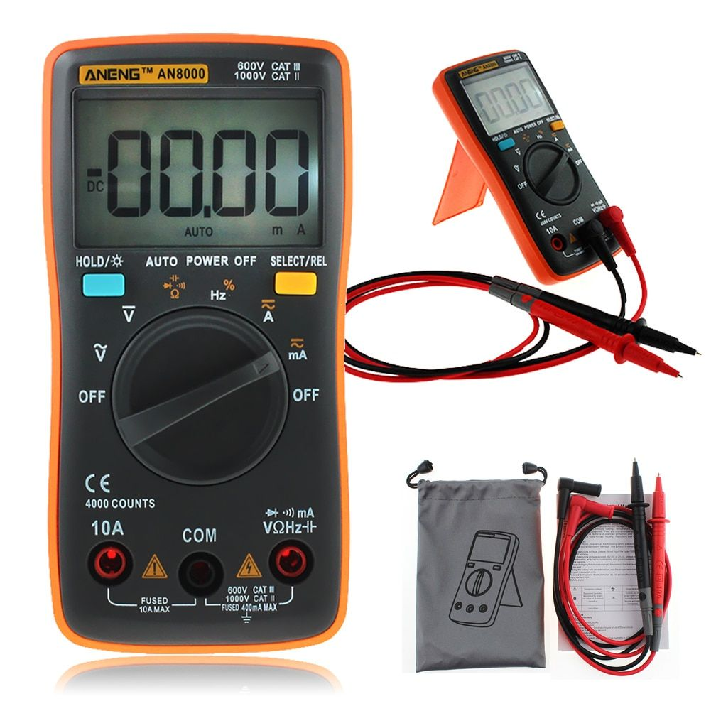 ANENG AN8000 Portable Digital Multimeter 4000 Counts LCD Display Auto Range AC/DC Voltage Ammeter
