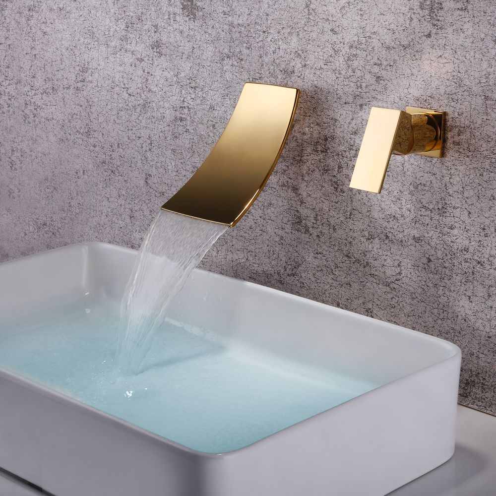 SKOWLL Wall Mounted Waterfall Faucet Gold Mixer Tap Bathroom Single Handle Bathroom Sink