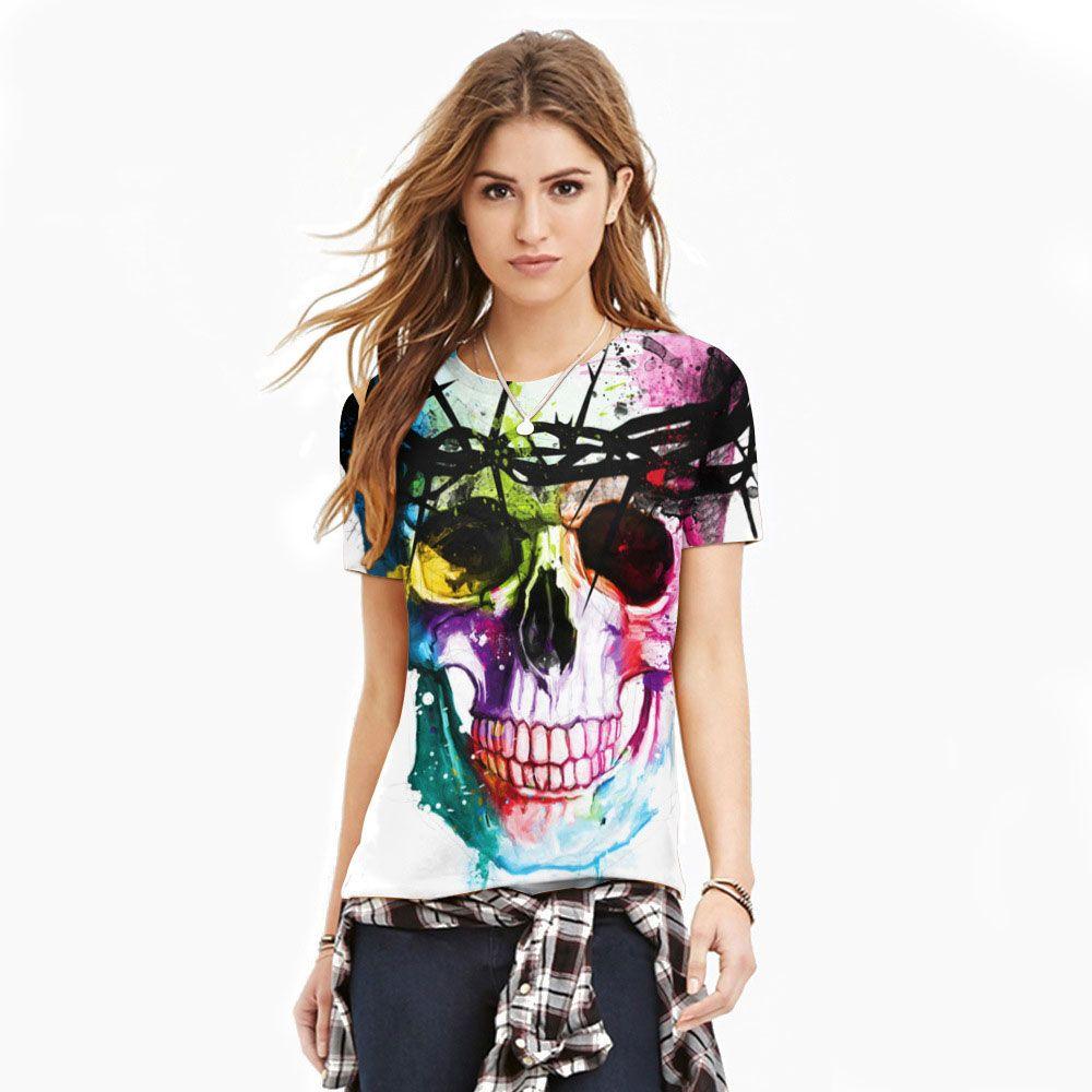 Polyester Spandex couleur Graffiti crâne femmes Fitness mode t-shirt filles exercice Compression collants T-shirts hauts
