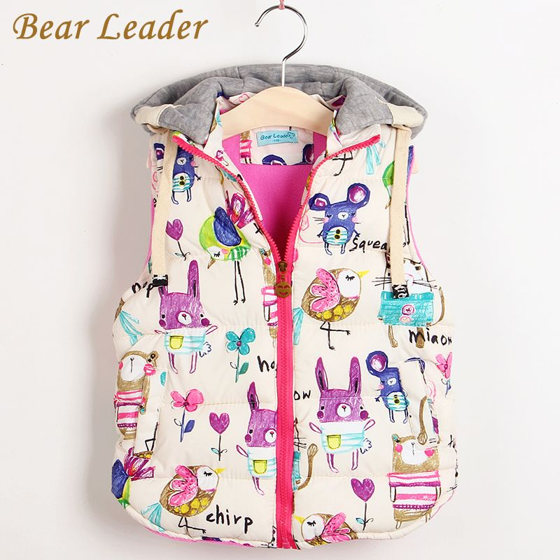 Children Clothing Winter Outerwear&Coats Animal Graffiti Thick Princess Girls Vest Hooded Kids Jackets Baby Girl Warm Waistcoat
