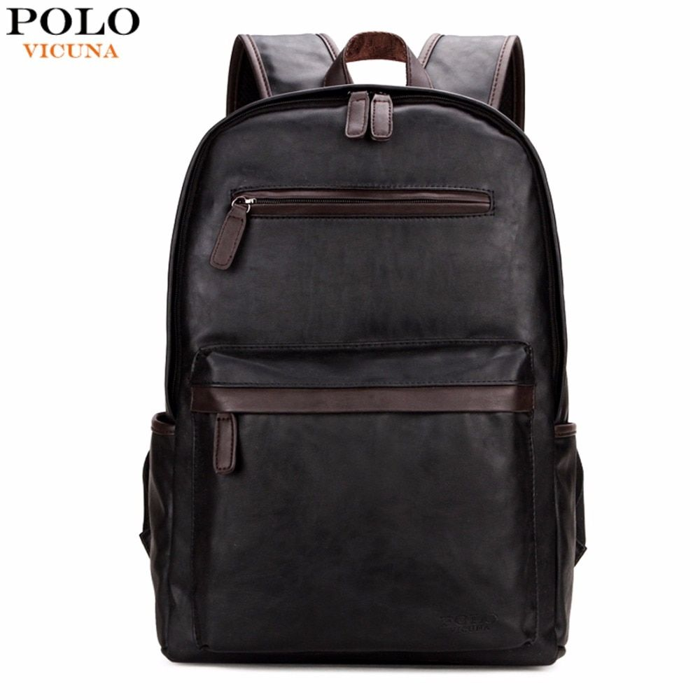 VICUNA POLO Brand Leather Mens <font><b>Laptop</b></font> Backpack Casual Daypacks For College High Capacity Trendy School Backpack Men Travel Bag