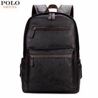 Vicuña POLO marca de hombre de cuero portátil mochila bolsa normal para la universidad de alta capacidad de mochila escolar, bolso de viaje