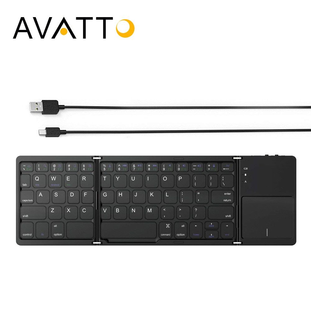 AVATTO Portable Folding Mini Keyboard Bluetooth Foldable Wireless Keypad with Touchpad for Windows,Android,ios Tablet ipad Phone