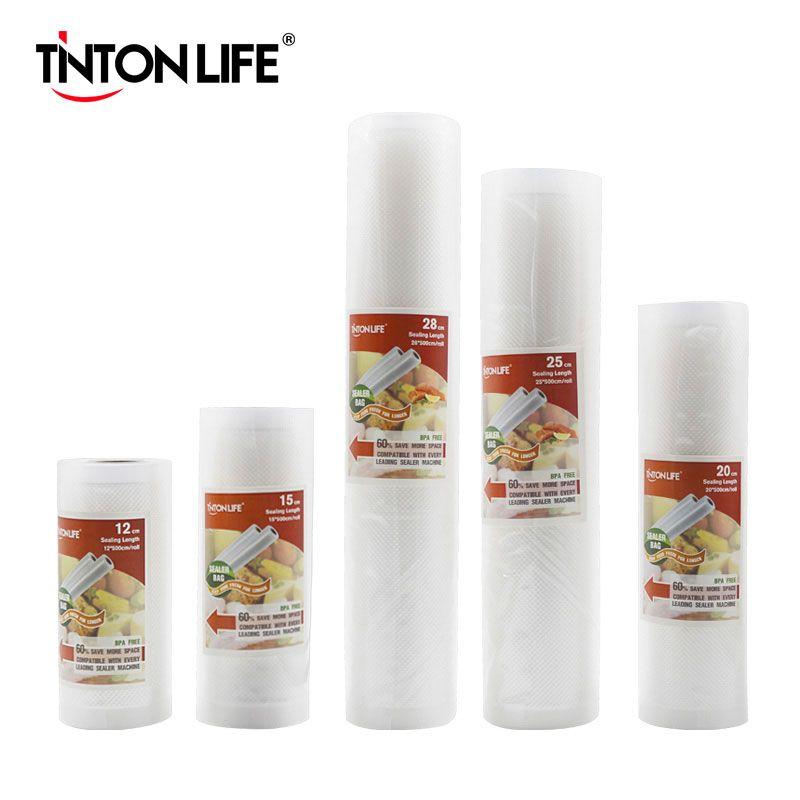 TINTON LIFE alimentaire scelleur sous vide stockage économiseur sacs vide plastique rouleaux 5 taille sacs pour cuisine scelleur sous vide pour garder les aliments frais