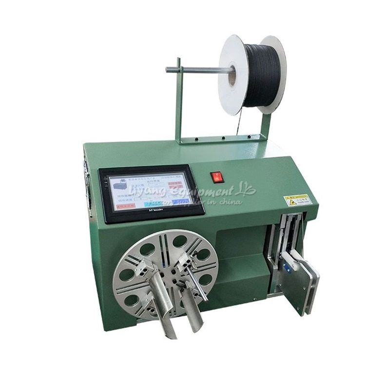 Automatic small touch screen cable wire coil winding machine binding tie machine update from manual hand wire machine 220V 110V