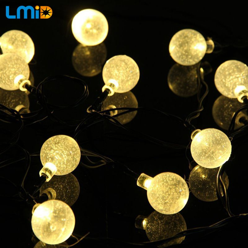LMID Solar Lamps Crystal Ball Waterproof Colorful Fairy Outdoor Solar Light Garden Christmas Party Decoration <font><b>String</b></font> Lights