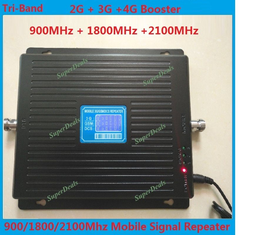 LCD 2g 3g 4g gsm repeater 900 1800 2100 TriBand cell phone signal booster LTE cellular signal booster mobile signal amplifier