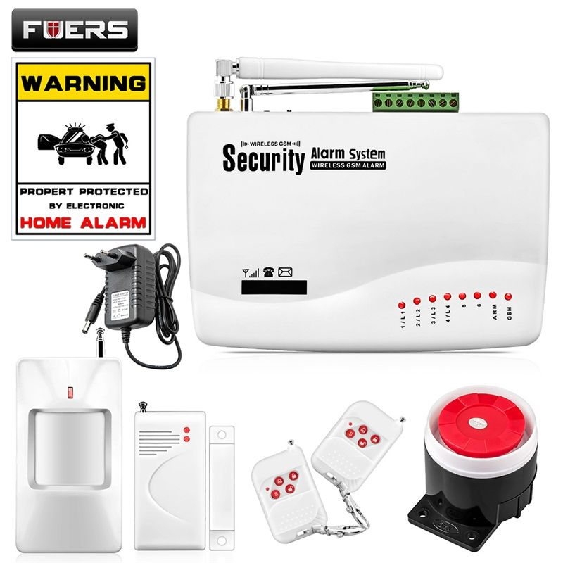 FUERS Wireless GSM Alarm System Dual Antenna GSM Home Alarm Systems with PIR Detector Russian English Voice Security GSM Alarm