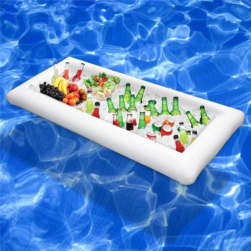 Pool Float <font><b>Inflatable</b></font> Mattress Beer Table Summer Water Party Air Mattress Ice Bucket Serving/Salad Bar Tray Food Drink Holder