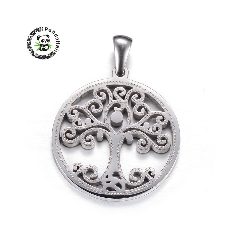 304 Stainless Steel Pendants, Flat Round with Tree of Life, Stainless Steel Color, 27.5x25x2mm, Hole: 7x3mm