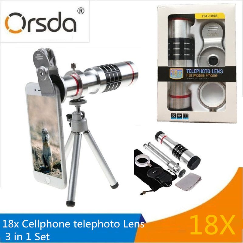 Orsda HD18x Zoom Telephoto Telescope Phones Lens With Mobile Phone Universal Clips Tripod For iPhone SE 6S 7 8 X Lentes lenses