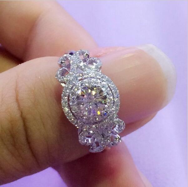 Виктория Вик Новая мода цветочные украшения 2ct AAAAA Циркон CZ обручальное кольца для женщин стерлингового серебра 925 женский кольцо